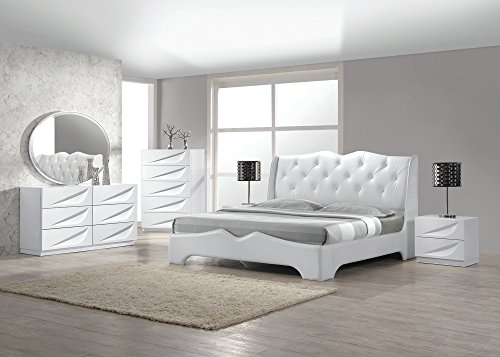 Modern Madrid 4 Piece Bedroom Set Eastern Size Bed Leather Like Exterior Mirror Dresser Nightstand White Lacquer Headboard with Like Crystals Bedroom Furniture