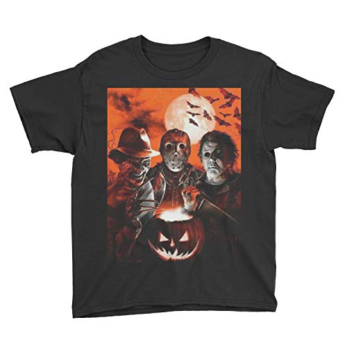 Kids Super Villains Jason Voorhees Michael Myers Horror Movie Halloween T-Shirt (XS, Black) ()