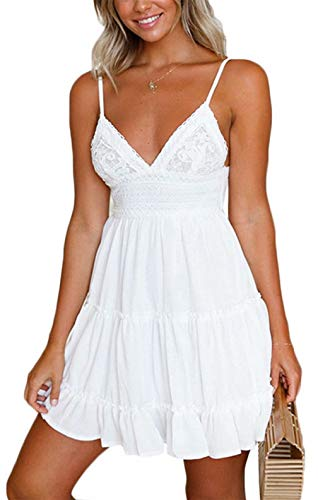 Womens Spaghetti Strap V-Neck Lace Dress Bowknot Backless Sleeveless Ruffle Mini Swing Skater Dress Size M (White)