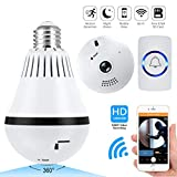 Video Doorbell, WiFi Light Bulb Camera, Normal Porch Light,Security Alarm 4 in 1 360 Degrees Panoramic VR Indoor/Outdoor Home Surveillance Cameras, Motion Detection, Night Vision
