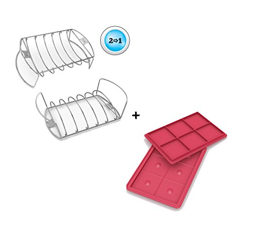 Rib Roast Rack + Burger Maker - BUILT IN HAMBURGER DIMPLER - Press 6 Juicy 1/3 Pound Bubba Sized Patties - Dishwasher Safe Silicone Stack Easily for Freezer Storage - Voted Best BBQ Grill Accessories (Burger Maker Delux)