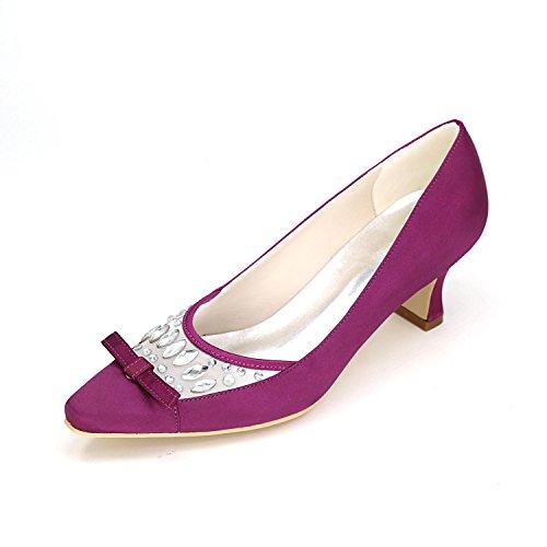L@YC Tacones altos de las mujeres Primavera Verano otoño Invierno Plataforma Satén Wedding & Evening Fine Heel Platform Purple