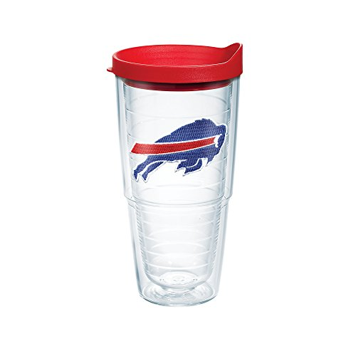 Tervis NFL Buffalo Bills Logo Emblem Tumbler with Red Travel Lid, 24 oz, Clear - Buffalo Bills Tumbler