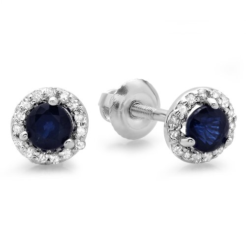 (Dazzlingrock Collection 10K Round Blue Sapphire & White Diamond Ladies Halo Stud Earrings, White Gold)