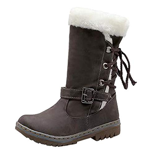 Cenglings Women Knee High Snow Boots, Round Toe Flat Shoes Winter Fuzzy Buckle Lace Up Mid-Calf Booties