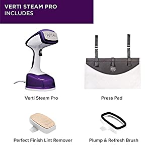 Drew&Cole Vertisteam Pro 1600W Clothes Steamer – Handheld Travel Iron For Steaming Garments Fast Heat-up With Automatic Shut Off Includes Portable Press Pad For Vertical Ironing – 200ML Water Tank