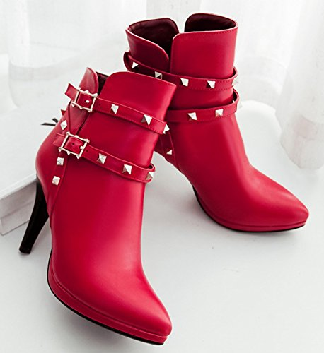 IDIFU Womens Sexy Studded High Heels Stiletto Boots Pointed Toe Martin Ankle Booties Red yTM7hG5K