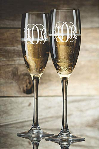 (CELYCASY Personalized Champagne Glasses Champagne Flutes Bride and Groom Monogram Toasting Glasses Set of 2 )