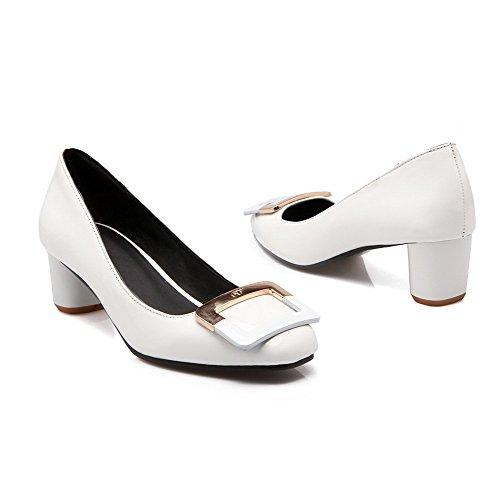 Damen Pumps Absatz Mittler Eingelegt Zehe Schuhe auf Quadratisch Ziehen PU AgooLar Weiß g6zxqtwdgT