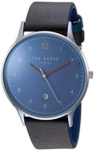 Ted Baker Men's Ethan Stainless Steel Quartz Watch with Leather Strap, Green, 20 (Model: TE50519001