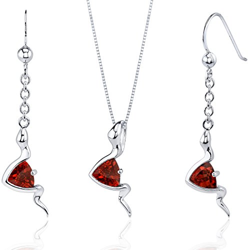 Garnet Pendant Earrings Necklace Sterling Silver Rhodium Nickel Finish Trillion Shape 1.50 Carats