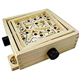Traditional Wooden Labyrinth Tabletop Game with Ball Bearing Kids Adult Intelligence Development Parent-child Board Game Tilting Maze Game Balance Game 18 * 18 * 6cm