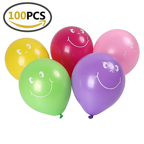 Shinehalo 100PCS Smiley Face Balloons with Pump Printing Balloons Latex Balloons Assorted Color 9 Inch Balloons for Parties, Birthdays, Wedding and (Face Balloons)