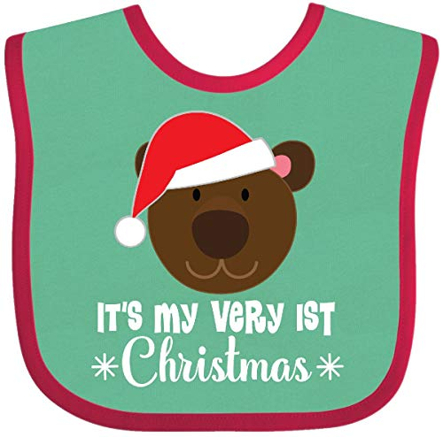 Inktastic - 1st Christmas Holiday Bear Baby Bib Green and Red 2defa