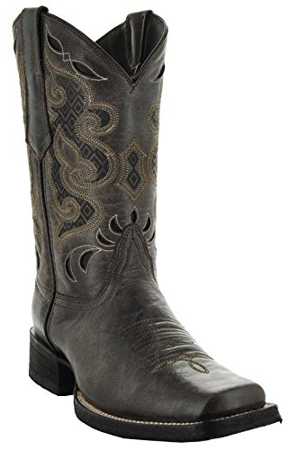 Soto Boots Men's Broad Square Toe Boots H50019 (11, Dark Brown)