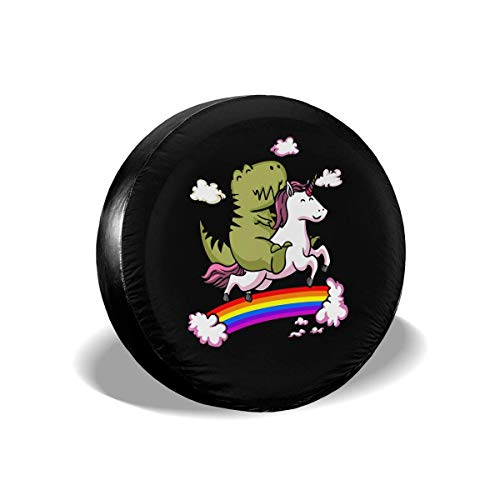 (LLgLOOhoOPPPJDh Sports Fan Tire Covers T-Rex Dinosaur Riding Cartoon Unicorn Universal Spare Wheel Tire Cover Fit for Trailer,RV,SUV and Many Vehicle 14