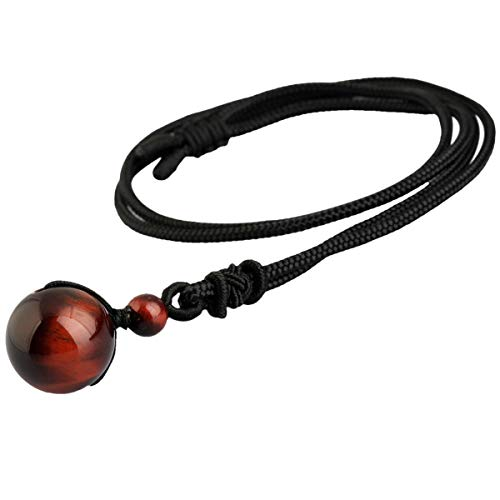 TUMBEELLUWA Stone Bead Pendant Necklace Amulet Reiki Healing Crystal with Nylon Cord Handmade Jewelry for Women,Red Tiger's ()