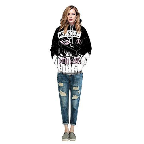 Snap Gang (Hoodie, MagiQK Halloween Goth Gang Sweatshirts, Funny 3D Printing Street Snap Lover's Hoody, ANTI SOCIAL Pullover (L/XL, Women))