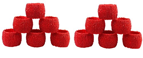 Cotton Craft - 12 Pack Beaded Napkin Ring Set -Red - Hand Made by Skilled artisans - A Beautiful complement to Your Dinner Table décor