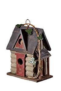 Your Heart's Delight Log Cabin Birdhouse, 8 by 9-1/2-Inch