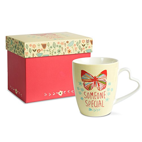 A Mother's Love by AmyL 54039 Someone Special Beige Floral Butterfly Porcelain Coffee Mug Teacup with Heart Shaped Handle, Yellow