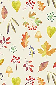 Notes: A Blank Lined Journal with Watercolor Leaves and Berries Cover Art