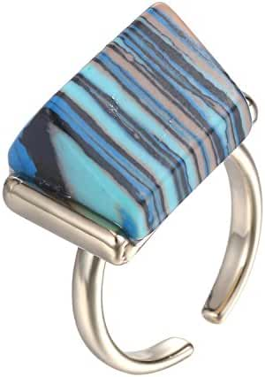 eManco Simple Geometry Natural Stone Turquoise Copper Cuff Open Big Rings summer jewelry for Women Blue