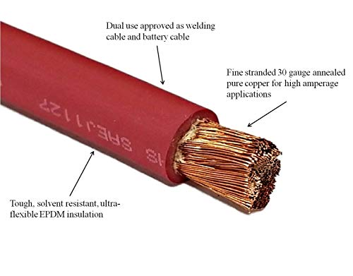 WNI 4 Gauge 10 Feet Black 10 Feet Red 4 AWG Ultra Flexible Welding Battery Copper Cable Wire - Made In The USA - Car, Inverter, RV, Solar