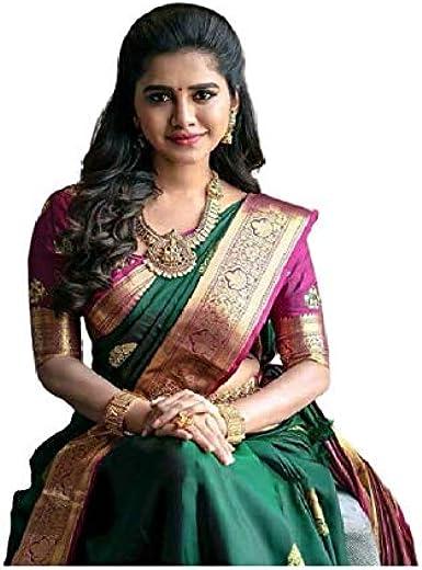 soft silk saree Banarasi lichi silk saree bridal saree women/'s saree green saree jecard weaving saree saree blouse gold zari saree