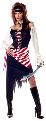 Black Beauty Pirate Adult Womens Costumes (California Costumes Women's Ruby, The Pirate Beauty Costume, Black/Red/White, X-Large (12-14))