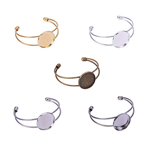 PandaHall Elite 10 Pcs Brass Bezel Tray Blank Cuff Bangles Bracelet Fit 25mm Round Cabochon 5 Colors for Men and Women