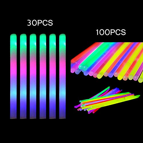 Taotuo 100pcs Glow Sticks and 30pcs LED Flashing Foam Sticks, 130 Pack Light Up Toy Set Glow in The Dark for Party Supplies, Wedding, Kids, Raves, Birthdays, Children Toy