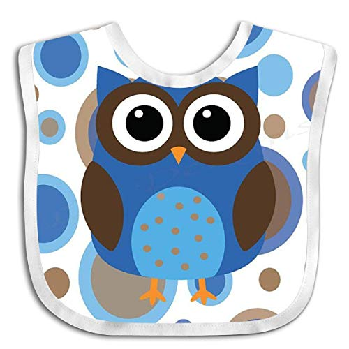 Owl Blue and Brown Polka Dot Baby Bibs Baby Bandana Drool Bibs for Drooling and Teething