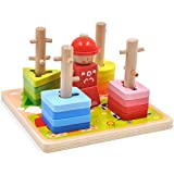 GYBBER&MUMU Wooden Stacking Blocks Geometry Shape Color Blocks Wooden Educational Preschool Toys Toddler Puzzles Toys