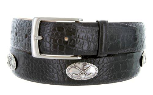 Joseph Club Classic - Men's Italian Calfskin Designer Dress Belt with Golf Conchos (38 Alligator Black) (Black Calfskin Belt Strap)