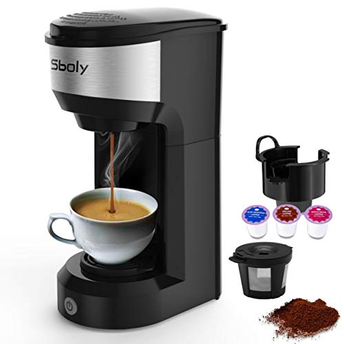 Sboly Mini Single Serve Coffee Maker for K Cup Pods And Ground Coffee, 90s Quick Brewing Technology, K Cup Brewer Small Coffee Machine for Travel, Black