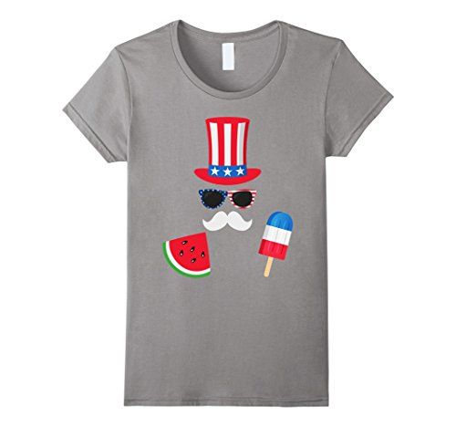 Womens Uncle Sam Costume Watermelon Ice Cream - 4th of July T-Shirt Large Slate