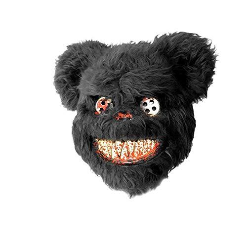 Teddy Bear Halloween Mask (Halloween Bloody Teddy Bear Mask Masquerade Scary Plush)