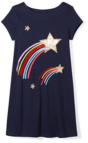 Spotted Zebra Toddler Girls' Knit Short-Sleeve A-Line T-Shirt Dresses, Star, - Star Toddler T-shirt