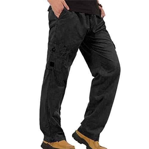 ADELINA Pantalones Rectos Flojos para Hombres Pantalones Vaqueros Rectos para Ropa con Hombres Bolsillos Y Pantalones Negro