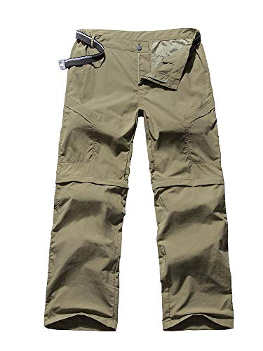 Women's Outdoor Anytime Quick Dry Cargo Pants Convertible Hiking Camping Fishing Zip Off Stretch Trousers Khaki 28 ()