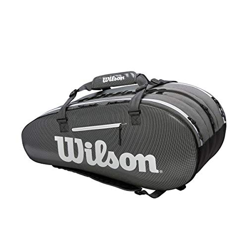 Wilson Super Tour 3 Compartment Tennis Bag, Black/Grey