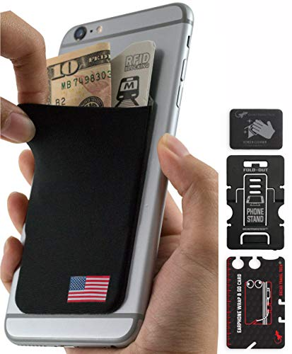 American Flag Credit Card and Cash Phone Pocket - USA Card Holders - United States Phone Wallet Stick on - USA ()