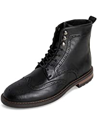Mens Shoe Boots Brogue Rugged Office Smart Work Kilt Formal Cleated Traditional Ankle Boot