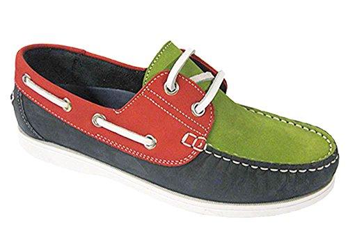 Chaussures bateau en nubuck pour femme Taille 37–41 - - Navy/Red/Green, 38