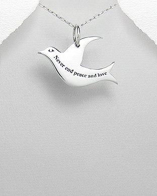 Jewelry Trends Dove Word Message Sterling Silver Pendant Necklace 18 Sentiment Never End Peace and Love