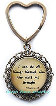 Scripture Key Ring Philippians 4:13 Scripture Jewelry Encouragement Bible Quote Key Ring Quote Jewelry Christi