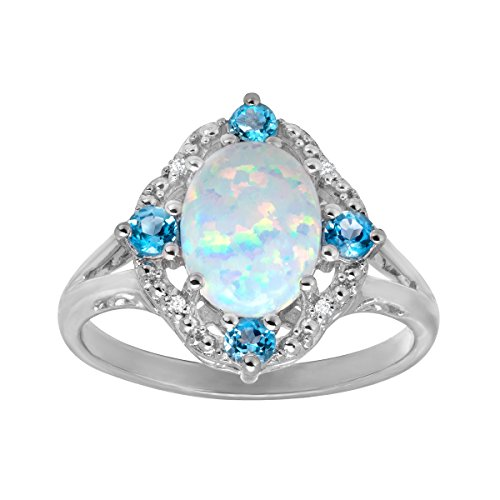 1 1 6 ct Created Opal and Natural Swiss Blue Topaz Ring with Diamonds in Sterling Silver