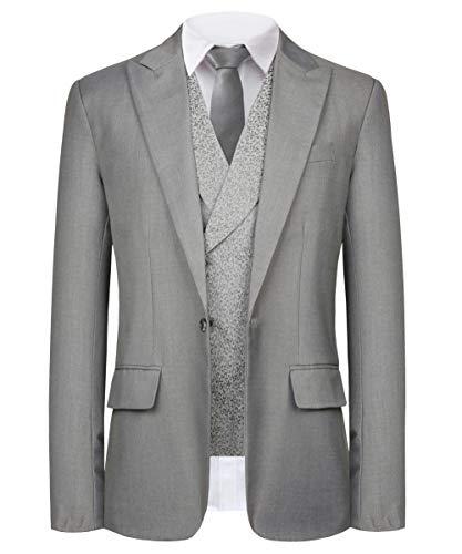 Men Suits Slim Fit 3 Piece Designer One Button Party Blazer Vest Pants Set(SI172-Grey-42R)