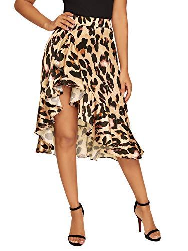 Verdusa Women's Ruffle Trim High Split Leopard Print Midi Skirt L